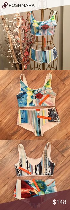 ✨👙NWT👙✨ Clover Canyon Painted and Pulled Bikini Brand new with tags two-piece swimsuit by Clover Canyon. Style: CCB68E765; Color: Multi; Size: Small.  Hygienic liner in tact on bottoms - never tried on or worn.  ✨All reasonable offers considered✨ Clover Canyon Swim Bikinis