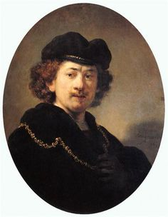 Self-portrait with Hat and Gold Chain - Rembrandt  - Completion Date: 1633