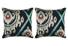 One Kings Lane - Seeing Double - S/2 Ikat 20x20 Cotton Pillows, Multi