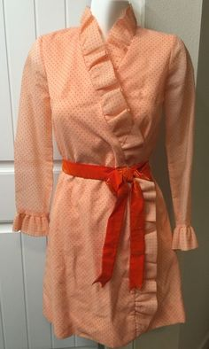 Vtg Jonathan Logan Dress Wrap Ruffle Orange Pink Swiss Dot Velvet Belt…