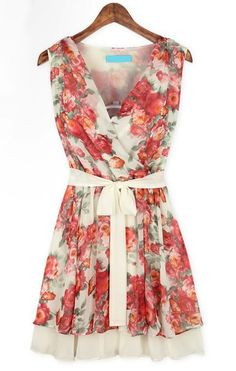 Pink Sleeveless Floral Bandeau Belt Pleated Dress