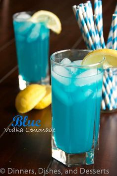 Blue Vodka Lemonade -- 8 oz lemonade 3 oz blue liquor (UV Blue Vodka, Blue Curacao) Blue food coloring Instructions: Mix together lemonade and blue liquor. Add a drop or 2 of blue food coloring for a deeper blue color. Party Drinks, Cocktail Drinks, Fun Drinks, Cocktail Recipes, Alcoholic Drinks, Uv Vodka Recipes, Cocktail Ideas, Drinks Alcohol, Alcohol Recipes