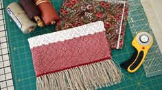 Making cute bag from sample piece of 8-shaft block twill weave.