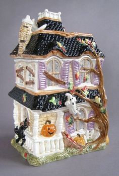 Fitz Floyd Halloween Harvest Cookie Jar 11 inch Haunted House Fun