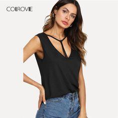 COLROVIE Black Cut Out V Neckline Tee Shirt 2018 New Deep V Neck Criss  Cross Plain a484742556e4