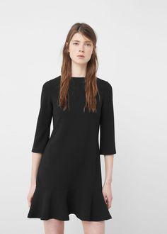 Fluted hem dress - f foDay Woman Short Dresses, Dresses For Work, Summer Dresses, Black And White Shirt, Light Dress, Mango Fashion, Fashion Outlet, Manga, Feminine Fashion
