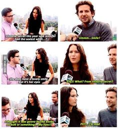 Hahaha Jennifer Lawrence and bradley cooper funny interview about Victoria secret :D