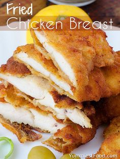 Fried Chicken Breast - Very interesting and easy way of preparing chicken breast, and very soft and delicious! Very interesting and easy way of preparing chicken breast, and very soft and delicious! Fried Chicken Boneless, Fried Breaded Chicken, Fried Chicken Breast, Chicken Breast Fillet, Fried Chicken Recipes, Chicken Breasts, Breading For Chicken, Chicken Thighs, Fried Chicken Tenders