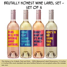 Cheer Up Label Set – Funny Wine Labels – Personalized Custom Wine Labels -… Cheer Up Label Set – Funny Wine Labels – Personalized Custom Wine Labels – Funny Birthday Gift – Just Because – Funny Christmas Gift Custom Wine Bottles, Custom Wine Labels, Wine Bottle Labels, Bottle Opener, Funny Birthday Gifts, Funny Gifts, Birthday Quotes, Happy Birthday, Birthday Woman