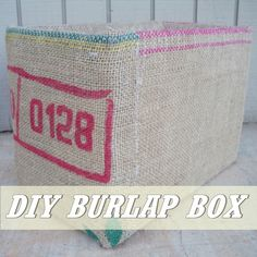 A DIY #Burlap Storage Box made from a cardboard box and a gunny sack.