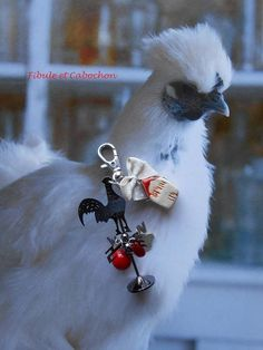"""Bijou de sac Porte clefs - """"Girouette !"""" - Fantaisie - Breloques nuage et étoile - Maison céramique - Perles verre - Noeud - Métal : Autres bijoux par fibule-et-cabochon"""