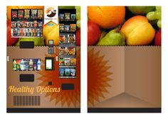 A #vending machine design concept for Naturals 2 Go. A healthier option for snacks on-the-go. The vending machine simply looks like a large grocery bag of fruit. Attention grabbing & immediately understood.