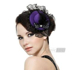 Feather Dots Bow Hair Clip Lace Purple Mini Top Hat Party Lolita Cosplay Goth