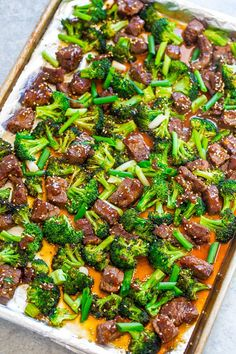 Minute Sheet Pan Beef and Broccoli - EASY, HEALTHIER than going out for Chinese because it's baked, and FASTER than calling for takeout! So much FLAVOR in this family favorite! It'll go into your regular rotation Beef Recipes, Cooking Recipes, Healthy Recipes, Pan Cooking, Healthy Cheap Meals, Easy Steak Recipes, Diner Recipes, Cooking Pork, Snacks