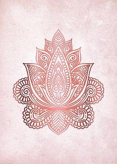 Rose Gold Lotus design on a pale pink background Canvas Prints, Framed Prints, Art Prints, Zentangle, Mandala Rose, Rose Gold Aesthetic, Lotus Art, Lotus Design, Architecture Tattoo