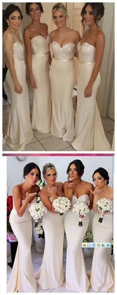 Fashion Mermaid Satin Ivory Long Bridesmaid Dress, Floor length Custom Bridesmaid Gowns Bridesmaid Dress under $139.99 only in Diyouth.com
