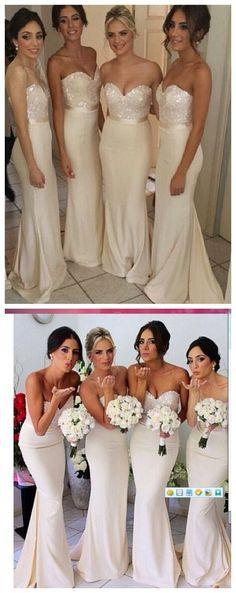 Fashion Mermaid Satin Ivory Long Bridesmaid Dress, Floor length Custom Bridesmaid Gowns Bridesmaid Dress under $139.99 only in Diyouth.com