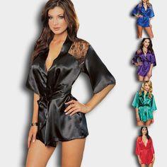 New Sexy Lingerie Satin Lace Black Kimono Intimate Sleepwear Robe Night Gown Plus Size Women Night Nress Sleepwear XXXL