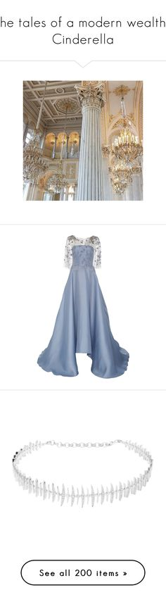 """""""The tales of a modern wealthy Cinderella"""" by vicky-carter ❤ liked on Polyvore featuring backgrounds, dresses, gowns, marchesa, gown, long dress, blue, blue gown, blue embroidered dress and embroidered gown"""