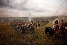 Line of battle:  French attack on Wellington's center-left.  Ponsonby's heavy cavalry of the Union Brigade disrupts and stalls the attack, only to become heavy casualties themselves after the French counter with Lancers and Cuirassiers.