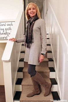 I like the sweater dress with tights. Not sure about the scarf.