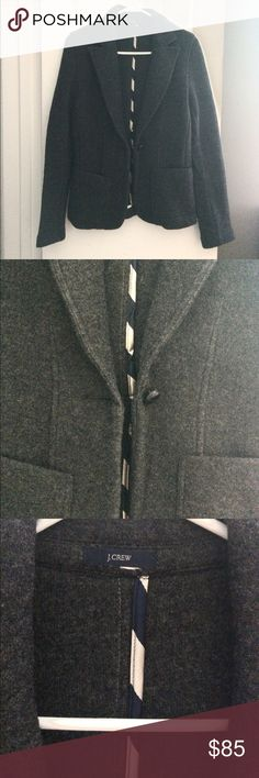 J. Crew Equestrian 100% Wool Blazer S NWOT J. Crew equestrian style blazer/jacket.  Dark grey color.  NWOT.  Size small but could fit a medium tight.  The fabric tag & size was cut off, but it is 100% wool.  Dry clean only or hand wash gently then hang to dry.  No stains or holes. J. Crew Jackets & Coats Blazers
