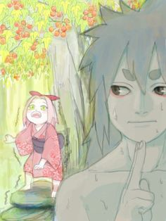 yomi-gaeru:  IndraSaku    Annoyed girlLittle Sakura kept playing around Indra while he was training.