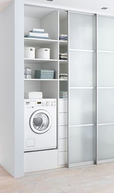 14 Basement Laundry Room ideas for Small Space (Makeovers) Laundry room decor Small laundry room ideas Laundry room makeover Laundry room cabinets Laundry room shelves Laundry closet ideas Pedestals Stairs Shape Renters Boiler Basement Laundry, Small Laundry Rooms, Laundry Closet, Laundry Room Storage, Laundry In Bathroom, Storage Room, Laundry Doors, Storage Shelves, Laundry Area