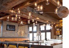 Reclaimed Barn Wood - Antique Brown WPCLB002 ASI Wood Panels  FireFly Kitchen & Bar  Southern Pines, NC WALKER+MIRANDA design studio