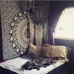 black and white hippie mandala tapestry wall hanging college room wall decor tapestries