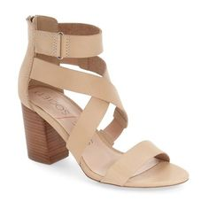 """Sole Society 'Sabina' Block Heel Sandal, 3"""" heel ($90) ❤ liked on Polyvore featuring shoes, sandals, block heel sandals, velcro strap sandals, block-heel sandals, adjustable strap sandals and stacked heel sandals"""
