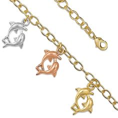 """7"""" Dolphin Loop 14K Yellow Gold Plated Charm Link Bracelets"""