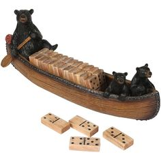 Black Bears in Canoe Dominoes