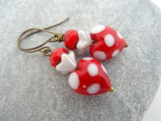 Murano Heart Earrings, Polka Dot Earrings,Red Earrings, White Earrings. £19.00
