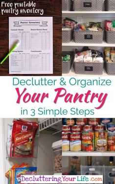 Kitchen Decor and Design ideas - Pantry organization ideas - DIY kitchen pantry decluttering ideas - Declutter and organize your pnatry in 3 simple steps. Great pictures of organized pantries too! Kitchen Organization Pantry, Clutter Organization, Kitchen Pantry, Organization Ideas, Organized Pantry, Pantry Ideas, Organizing Solutions, Storage Ideas, Freezer Organization