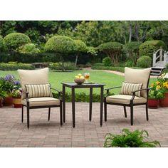 Better Homes and Gardens Shutter 3-Piece Outdoor Bistro Set, Seats 2