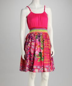 Fuchsia  Orange Graphic Empire-Waist Dress