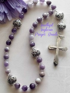 Protestant Anglican Amethyst Gemstone and Heart Prayer Bead Rosary by FaithExpressions