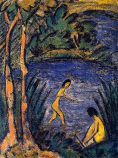 The Athenaeum - Sitter and Bather with Two Trees (Otto Mueller - )