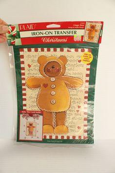 PLAID GINGERBREAD BEAR Iron On Transfer,Vintage Iron On Transfer,Christmas Transfer,Sweatshirt decoration,cute t-shirt iron on,Rocking Horse