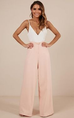 These gorgeous full-length bottoms are the wide leg pants you've been waiting for! Pair with a cute cami, some killer heels and a sleek blazer for when the sun goes down - Made With Polyester, Spandex & Love- R Fashion Now, Fashion 2020, Girl Fashion, Fashion Outfits, Fashion Design, Outfits Mujer, Dress Outfits, Bat Mitzvah Dresses, Satin Dresses