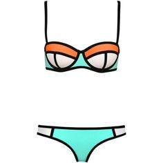 Color-Block Bikini ($14) ❤ liked on Polyvore featuring swimwear, bikinis, swimsuit, swim, orange bikini, swim bikini, bikini bathing suits, bathing suits two piece and orange swimsuit