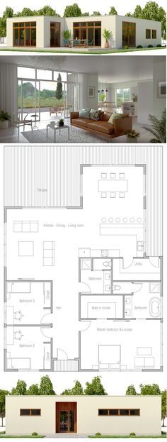 Home Plan Modern Home Plans Modern House Designs modernhome modernhouse modernhousedesign archdaily Dream House Plans, Modern House Plans, Small House Plans, House Floor Plans, Modern Bungalow House Design, Minimal House Design, Bungalow Homes, Modern Minimalist House, Minimalist Style