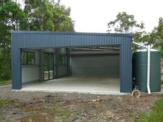 Gallery - THE Shed Company Gold Coast - Skillion Roof Garage x x H - New Sheds and Garages Garage Shed, Shed Roof, Garage Plans, House Roof, Corrugated Roofing, Steel Roofing, Roofing Shingles, Tin Roofing, Shop Buildings