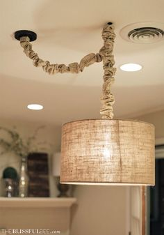 Make your house look like it has an umbilical chord and it's growing a glowing baby lamp in it's house belly. DIY No Sew Cord Cover Lampshade Redo, Lampshades, Chandeliers, Applique Led, Lamp Cover, Swag Light, Lampe Led, Diy Table, Table Lamp