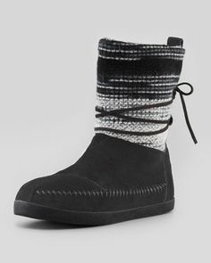 Striped Suede Nomad Boot, Black by TOMS at Neiman Marcus.