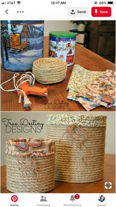 Stylish Lined Baskets From Popcorn Tins # easy DIY Gifts 20 Crazy Creative Popcorn Tin Repurposing Projects Rope Crafts, Recycled Crafts, Twine Crafts, Recycled Decor, Recycled Tin Cans, Wooden Crafts, Recycled Materials, Wooden Toys, Tin Can Crafts