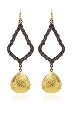 Black Diamond Gold Drop Earrings by Arman Sarkisyan for Preorder on Moda Operandi