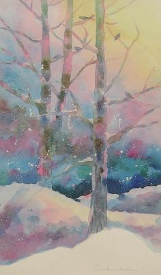 Winter Chorus - watercolor by Amy Householder