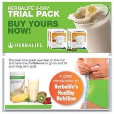 Herbalife 3 day trial packs available now! www.wellness4u.co.za